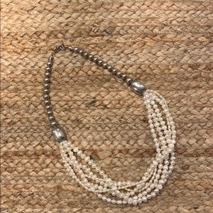 Silpada Multi Strand pearl necklace w/silver beads